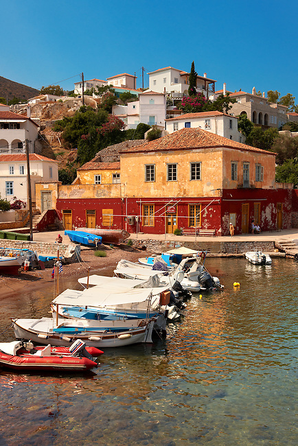 The harbour of the small fishing village of Kaminia, Hydra,  Greek Saronic Islands.