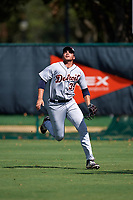 Detroit Tigers right fielder Reynaldo Rivera (35) tracks a fly ball during an Instructional League game against the Atlanta Braves on October 10, 2017 at the ESPN Wide World of Sports Complex in Orlando, Florida.  (Mike Janes/Four Seam Images)