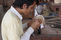 Siem Reap, Cambodia - 2007 File Photo -<br /> <br /> wood carver, <br /> <br /> photo : James Wong-  Images Distribution