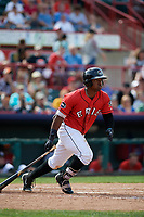 Erie SeaWolves left fielder Christin Stewart (35) follows through on a swing during a game against the Akron RubberDucks on August 27, 2017 at UPMC Park in Erie, Pennsylvania.  Akron defeated Erie 6-4.  (Mike Janes/Four Seam Images)