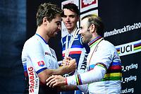 Picture by Alex Broadway/SWpix.com - 30/09/2018 - Cycling 2018 Road Cycling World Championships Innsbruck-Tirol, Austria - Men's Elite Road Race Podium - Former World Champion Peter Sagan congratulates new World Champion Alejandro Valverde on the podium.