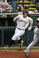 Bradenton Marauders outfielder Austin Meadows (13) runs to first after a hit during a game against the Jupiter Hammerheads on April 17, 2015 at McKechnie Field in Bradenton, Florida.  Bradenton defeated Jupiter 11-6.  (Mike Janes/Four Seam Images)
