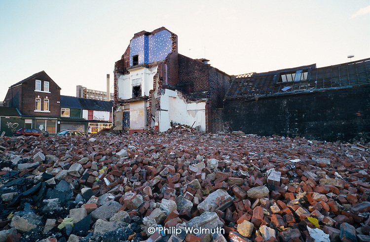 Partially demolished street in an area of low demand in Sheffield.
