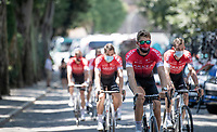 Team Arkea-Samsic on their way to sign-on in the first WT race after lockdown<br /> <br /> 14th Strade Bianche 2020<br /> Siena > Siena: 184km (ITALY)<br /> <br /> delayed 2020 (summer!) edition because of the Covid19 pandemic > 1st post-Covid19 World Tour race after all races worldwide were cancelled in march 2020 by the UCI