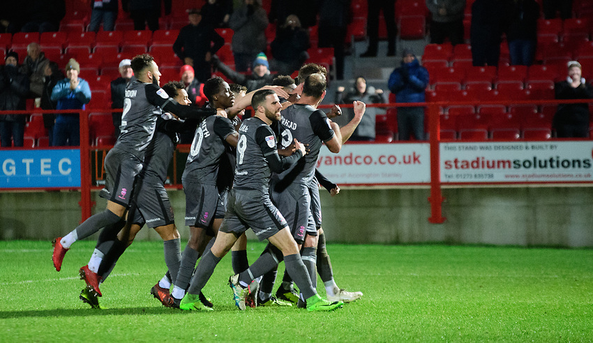 Lincoln City's Jamie McCombe celebrates scoring his side's second goal with team-mates<br /> <br /> Photographer Andrew Vaughan/CameraSport<br /> <br /> The EFL Checkatrade Trophy Second Round - Accrington Stanley v Lincoln City - Crown Ground - Accrington<br />  <br /> World Copyright © 2018 CameraSport. All rights reserved. 43 Linden Ave. Countesthorpe. Leicester. England. LE8 5PG - Tel: +44 (0) 116 277 4147 - admin@camerasport.com - www.camerasport.com