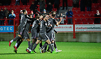 Lincoln City's Jamie McCombe celebrates scoring his side's second goal with team-mates<br /> <br /> Photographer Andrew Vaughan/CameraSport<br /> <br /> The EFL Checkatrade Trophy Second Round - Accrington Stanley v Lincoln City - Crown Ground - Accrington<br />  <br /> World Copyright &copy; 2018 CameraSport. All rights reserved. 43 Linden Ave. Countesthorpe. Leicester. England. LE8 5PG - Tel: +44 (0) 116 277 4147 - admin@camerasport.com - www.camerasport.com
