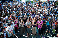 Copyright : Magali Corouge / Documentography<br />Istanbul, Turkey, the 8th of June 2013.<br /><br />In the middle of the park, a stage has been set up and everyday speeches are taking place and attrack a big croud very careful to what it is beeing said.
