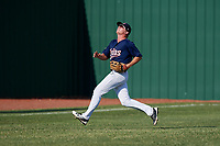 Elizabethton Twins left fielder Tyler Webb (30) tracks a fly ball during a game against the Bristol Pirates on July 28, 2018 at Joe O'Brien Field in Elizabethton, Tennessee.  Elizabethton defeated Bristol 5-0.  (Mike Janes/Four Seam Images)