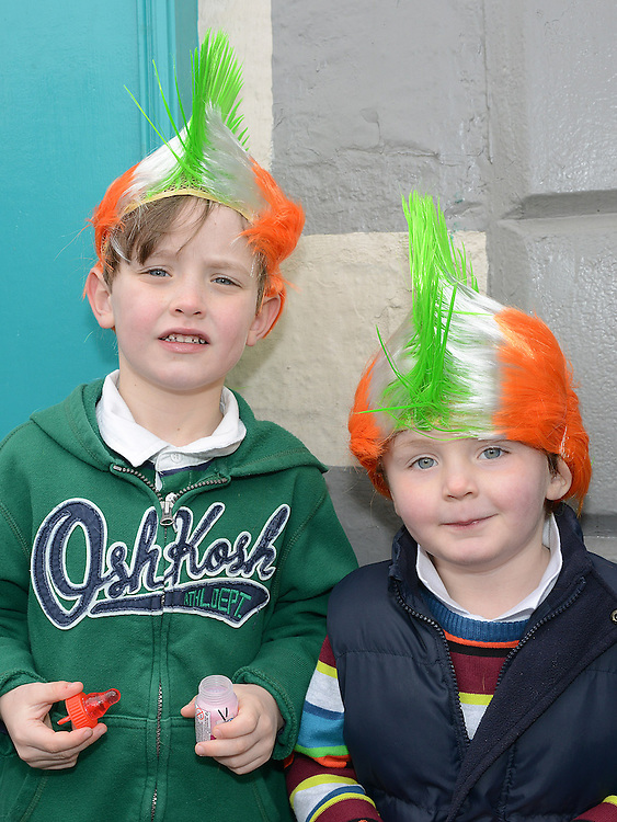 Anthony and PJ Johnston at the Dunleer St Patrick's day parade. Photo:Colin Bell/pressphotos.ie