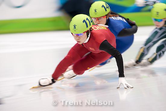 Trent Nelson  |  The Salt Lake Tribune.Women's 1000m Semifinals, Short Track Speed Skating at the Pacific Coliseum Vancouver, XXI Olympic Winter Games, Friday, February 26, 2010. Tatiana Borodulina (Australia, 101), Park Seung-Hi (Korea, 141), Jessica Gregg (Canada, 105), Zhou Yang (China, 114)
