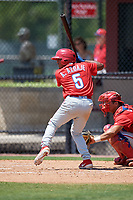 Philadelphia Phillies Jesus Azuaje (5) during an Minor League Extended Spring Training intrasquad game on April 24, 2019 at the Carpenter Complex in Clearwater, Florida.  (Mike Janes/Four Seam Images)