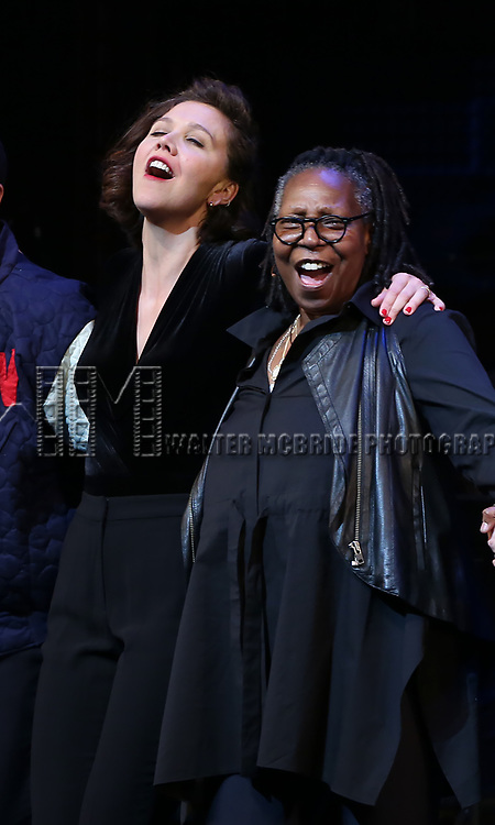 Maggie Gyllenhaal, Whoopi Goldberg during the Curtain Call for the Roundabout Theatre Company presents a One-Night Benefit Concert Reading of 'Damn Yankees' at the Stephen Sondheim Theatre on December 11, 2017 in New York City.
