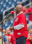 15 June 2016: Singer Dwight Clyde Washington (known as D.C. Washington) performs the National Anthem prior prior to a game between the Chicago Cubs and the Washington Nationals at Nationals Park in Washington, DC. The Nationals defeated the Cubs 5-4 in 12 innings to take the rubber match of their 3-game series. Mandatory Credit: Ed Wolfstein Photo *** RAW (NEF) Image File Available ***