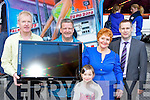 Don Bird from Birds amusements presents Lucy O'Neill, Roscaragh, Caragh Lake a new TV after she won a competition at Bird's Amusement's Killarney last Friday evening l-r: Michael O'Leary O'Leary Electrical, Don Bird, Lucy O'Neill, Sophie Anna O'Reilly and Pat Reidy Radio Kerry ..