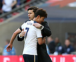 Tottenham's Mauricio Pochettino hugs Heung-Min Son during the FA Cup Semi Final match at Wembley Stadium, London. Picture date: April 22nd, 2017. Pic credit should read: David Klein/Sportimage