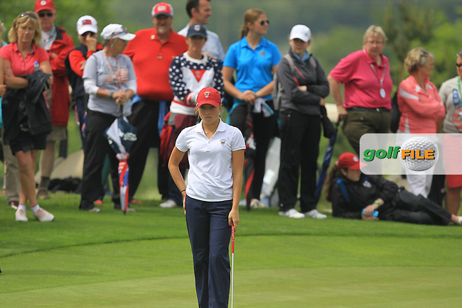 Sierra Brooks on the 15th during the Saturday Mourning Fourbsomes of the 2016 Curtis Cup at Dun Laoghaire Golf Club on Saturday 11th June 2016.<br /> Picture:  Golffile | Thos Caffrey