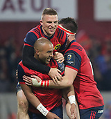 9th December 2017, Thomond Park, Limerick, Ireland; European Rugby Champions Cup, Munster versus Leicester Tigers; Munster players celebrate with Simon Zebo of Munster, after his try