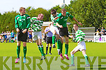 Castleisland in action against  Listowel Celtic in the Greyhound Bar KO CupFinal at Mounthawk Park on Sunday.