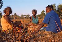 Mavis Ngallametta, Hersey Yunkaporta, and Patricia Woolla, weaving baskets, Aurukun, Cape York Peninsula.