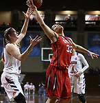 SIOUX FALLS, SD: MARCH 19:  Sara Lytle #32 of Union grabs a pass in front of Jecca Simerly #40 of Carson Newman during their game at the 2018 Division II Women's Elite 8 Basketball Championship at the Sanford Pentagon in Sioux Falls, S.D. (Photo by Dick Carlson/Inertia)