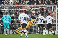 25th January 2020; Mestalla, Valencia, Spain; La Liga Football,Valencia versus Barcelona; Goalkeeper Ter Stegen of FCB stops the penalty striked by Maxi Gomez of Valencia CF Maxi Gomez of Valencia CF
