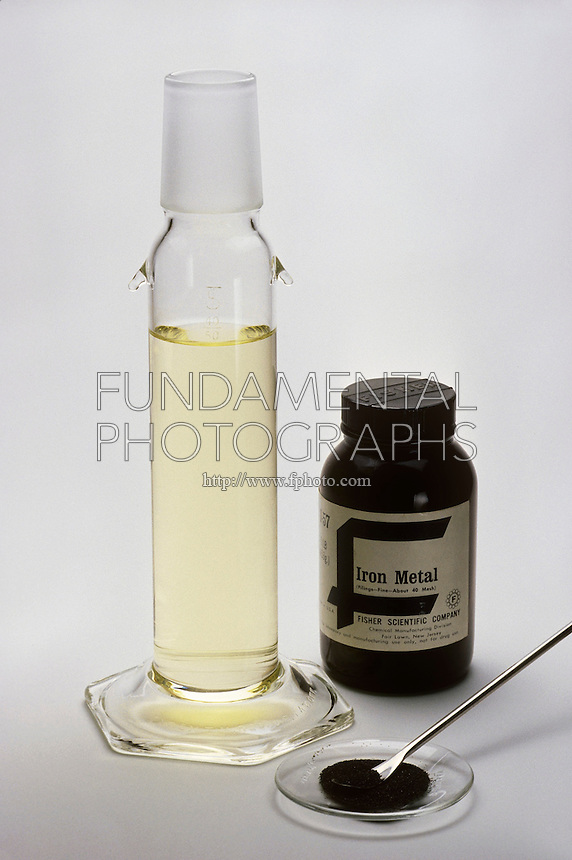 IRON CHLORIDE (FeCI3)<br /> 1 of 3<br /> Iron metal is added to chlorine water, creating iron chloride.