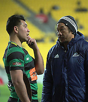 Tana Umaga chats with Wainuiomata's Tu Umaga-Marshall before the Super Rugby match between the Hurricanes and Blues at Westpac Stadium, Wellington, New Zealand on Saturday, 2 July 2016. Photo: Dave Lintott / lintottphoto.co.nz