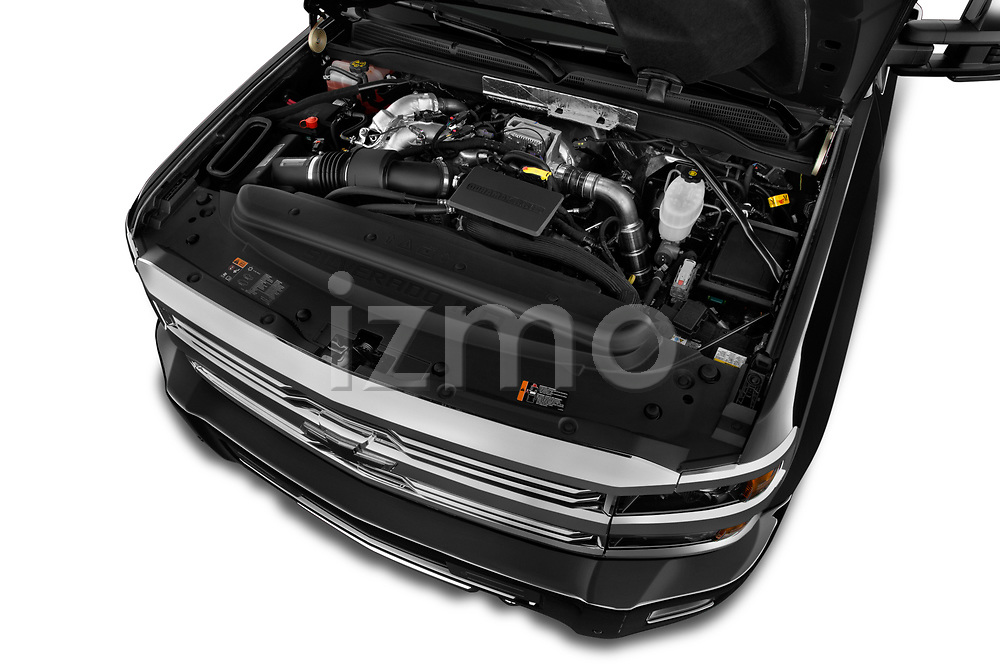 Car Stock 2017 Chevrolet Silverado-2500Hd High-Country-Crew-LWB 4 Door Pickup Engine  high angle detail view