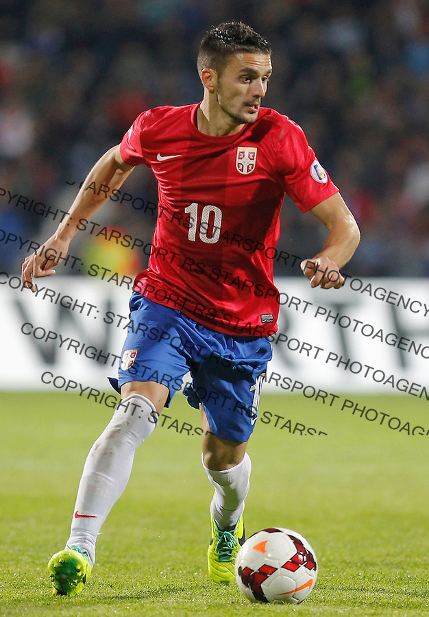 Fudbal Soccer<br /> World Cup 2014 qualifiers match<br /> Serbia v Macedonia<br /> Dusan Tadic<br /> Jagodina, 15.10.2013.<br /> foto: Srdjan Stevanovic/Starsportphoto &copy;