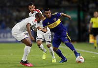 "BUENOS AIRES-ARGENTINA, 10-03-2020: Frank Fabra de Boca Juniors y Juan David Mosquera, Andres Ricaurte of de Deportivo Independiente Medellin disputan el balon durante partido de la fase de grupos, grupo H, fecha 2, entre Boca Juniors (ARG) y Deportivo Independiente Medellin (COL) por la Copa Conmebol Libertadores 2020, en el estadio Alberto Jose Armando ""La Bombonera"", de la ciudad Ciudad Autonoma de Buenos Aires. / Frank Fabra of Boca Juniors and Juan David Mosquera, Andres Ricaurte of Deportivo Independiente Medellin vie for the ball during a match of the groups phase, group H, 2nd date, between Boca Juniors (ARG) of Deportivo Independiente Medellin (COL) for the Conmebol Libertadores Cup 2020, at the Alberto Jose Armando ""La Bombonera"", in Ciudad Autonoma de Buenos Aires. VizzorImage / Javier Garcia Martino / Photogamma / Cont."