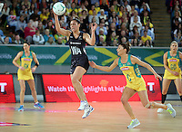 04.09.2016 Silver Ferns Grace Rasmussen in action during the Netball Quad Series match between the Silver Ferns and Australia played at Margaret Court Arena in Melbourne. Mandatory Photo Credit ©Michael Bradley.