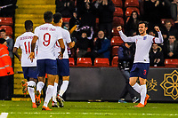 Liverpool's forward Domonic Solanke (20) for England U21's  celebrates with Leicester City's defender Ben Chilwell (3) for England U21's during the International Euro U21 Qualification match between England U21 and Ukraine U21 at Bramall Lane, Sheffield, England on 27 March 2018. Photo by Stephen Buckley / PRiME Media Images.
