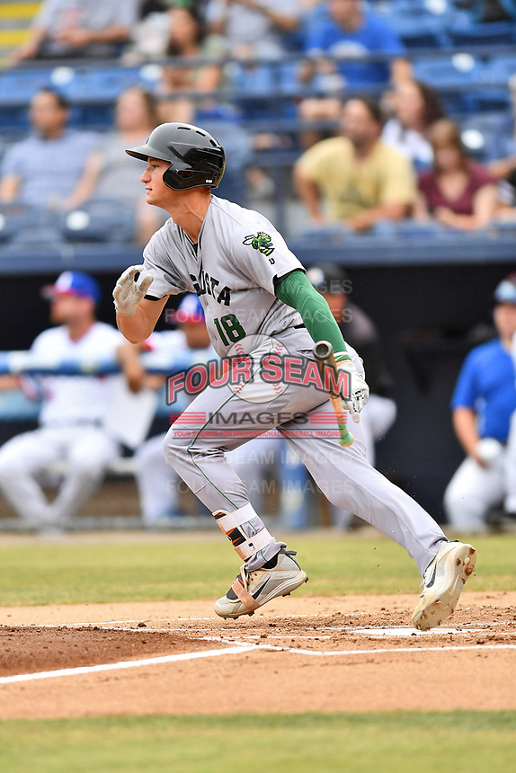 Augusta GreenJackets third baseman Jacob Gonzalez (18) swings at a pitch during a game against the Asheville Tourists on Crash Davis Night at McCormick Field on June 16, 2018 in Asheville, North Carolina. The GreenJackets defeated the Tourists 7-6. (Tony Farlow/Four Seam Images)