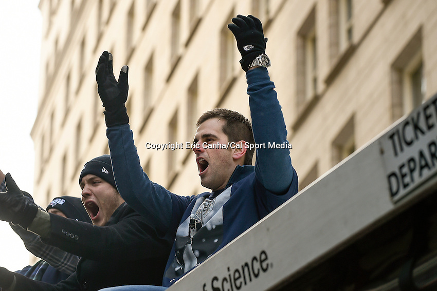 February 4, 2015 - Boston, Massachusetts, U.S. - New England Patriots kicker Stephen Gostkowski (3) celebrates  during a parade held in Boston to celebrate the team's victory over the Seattle Seahawks in Super Bowl XLIX. Eric Canha/CSM