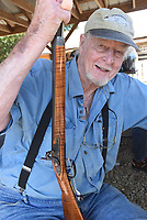 NWA Democrat-Gazette/FLIP PUTTHOFF <br /> Charlie Caywood shows one of the      Sept. 27 2019     black-powder rifles he makes. Caywood has been building black-powder guns for 65 years.