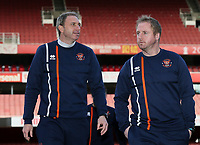 Blackpool U18's Professional Development Phase Coach John Murphy with Head of Academy Coaching Ian Dawes <br /> <br /> Photographer Andrew Kearns/CameraSport<br /> <br /> Emirates FA Youth Cup Semi- Final Second Leg - Arsenal U18 v Blackpool U18 - Monday 16th April 2018 - Emirates Stadium - London<br />  <br /> World Copyright &copy; 2018 CameraSport. All rights reserved. 43 Linden Ave. Countesthorpe. Leicester. England. LE8 5PG - Tel: +44 (0) 116 277 4147 - admin@camerasport.com - www.camerasport.com