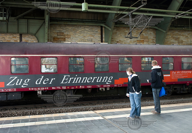 The 'Zug der Erinnerung', Train of Remembrance, at Berlin's Ostbahnhof station. The train features a mobile exhibition on the deportation of Jewish children from all over Europe to concentration camps during the Second World War (WWII). The attitude of Germany's state owned railway company Deutsche Bahn caused controversy after the moveable exhibition was refused permission to stop in Berlin's central station.