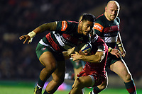Manu Tuilagi of Leicester Tigers takes on the Scarlets defence to create a try for team-mate Sione Kalamafoni. Heineken Champions Cup match, between Leicester Tigers and the Scarlets on October 19, 2018 at Welford Road in Leicester, England. Photo by: Patrick Khachfe / JMP