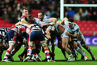 A general view of a scrum. European Rugby Challenge Cup match, between Bristol Rugby and Bath Rugby on January 13, 2017 at Ashton Gate Stadium in Bristol, England. Photo by: Patrick Khachfe / Onside Images