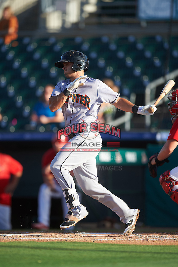 Jupiter Hammerheads third baseman Avery Romero (13) at bat during a game against the Palm Beach Cardinals on August 12, 2016 at Roger Dean Stadium in Jupiter, Florida.  Jupiter defeated Palm Beach 9-0.  (Mike Janes/Four Seam Images)