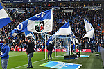 16.03.2019, VELTINS-Arena, Gelsenkirchen, GER, DFL, 1. BL, FC Schalke 04 vs RB Leipzig, DFL regulations prohibit any use of photographs as image sequences and/or quasi-video<br /> <br /> im Bild Schalker Fahnen beim Steigerlied <br /> <br /> Foto © nph/Mauelshagen