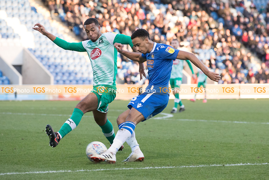 Cohen Bramall of Colchester United cross is cut out by Josh Grant of Plymouth Argyle during Colchester United vs Plymouth Argyle, Sky Bet EFL League 2 Football at the JobServe Community Stadium on 8th February 2020