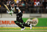 NZ's Brendon McCullum bats during 2nd Twenty20 cricket match match between New Zealand Black Caps and West Indies at Westpac Stadium, Wellington, New Zealand on Friday, 27 February 2009. Photo: Dave Lintott / lintottphoto.co.nz