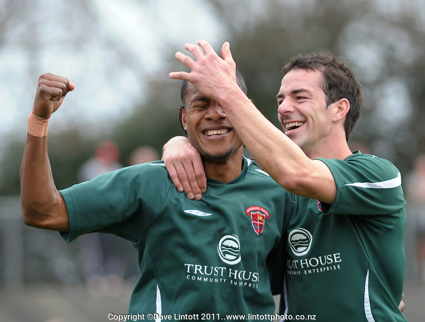 United captain Adam Cowan congratulates Seule Soromon on his goal. Chatham Cup soccer final - Napier Rovers v Wairarapa United at Memorial Park, Palmerston North, New Zealand on Sunday, 28 August 2011. Photo: Dave Lintott / lintottphoto.co.nz