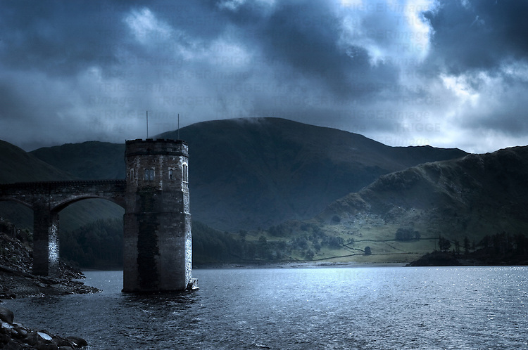 A stormy country scene with a reservoir in England