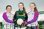 "Presentation Secondary School Castleisland pupils  Moira O Connor, Sarah O'Mahony and Lisa Flynn during their skills masterclass at the Castleisland Desmonds GAA grounds at the Bank of Ireland ""Meet Our Legends"" competition on Thursday"