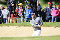 Tyrrell Hatton (ENG) chips from a bunker at the 15th green during Sunday's Final Round of the 2017 Omega European Masters held at Golf Club Crans-Sur-Sierre, Crans Montana, Switzerland. 10th September 2017.<br /> Picture: Eoin Clarke | Golffile<br /> <br /> <br /> All photos usage must carry mandatory copyright credit (&copy; Golffile | Eoin Clarke)