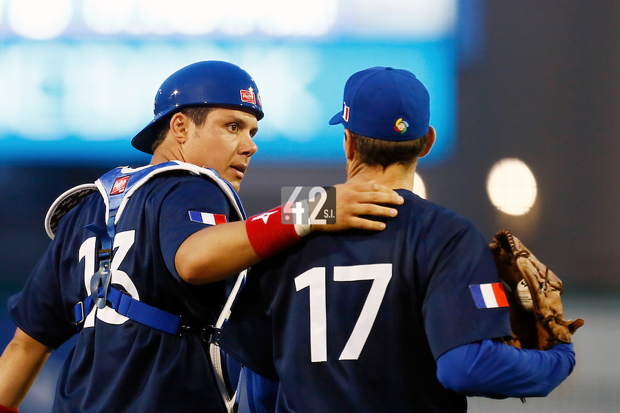 20 September 2012: Catcher Boris Marche talks to starting pitcher Patrice Briones during Spain 8-0 win over France, at the 2012 World Baseball Classic Qualifier round, in Jupiter, Florida, USA.