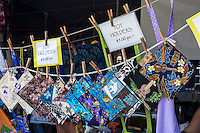 Locally made fabric pot holders for sale at the Hilo Farmers Market, Big Island of Hawai'i.