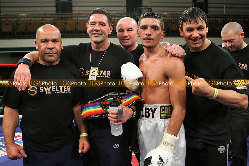 Lee Selby (white shorts) defeats John Simpson in a Featherweight boxing contest for the British and Commonwealth titles at York Hall, Bethnal Green, promoted by Frank Warren - 14/12/11 - MANDATORY CREDIT: Gavin Ellis/TGSPHOTO - Self billing applies where appropriate - 0845 094 6026 - contact@tgsphoto.co.uk - NO UNPAID USE..